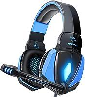 YINSAN Cascos Gaming, Auriculares Premium Stereo con Micrófono, Luz LED y Control Volumen, Diadema Acolchada y Ajustable...