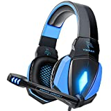YINSAN Cuffie Gaming PS4 PS5, Cuffie da Gioco con Cavo USB Audio Jack da 3,5 mm, Cuffie Over Ear con Microfono Luce LED e Controllo Volume, …