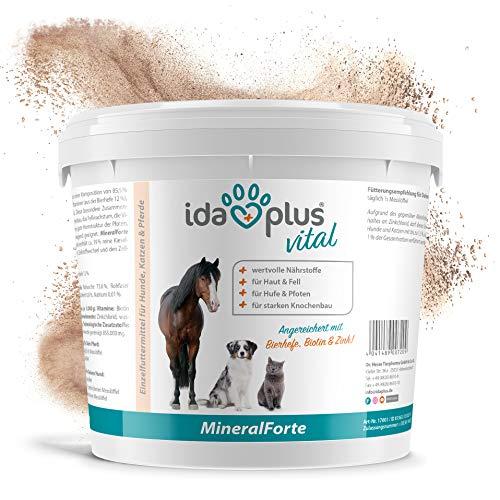 Ida Plus – Mineral-Forte 2 kg als Pulver – Mineralien für Pferd, Hund & Katze – gut für Fell, Haut, Knochenbau, Zähne & Horn-Struktur - natürlicher Kieselgur angereichert mit Bierhefe, Biotin & Zink