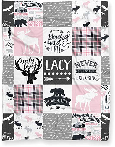 Puddle Kickers Personalized Moose Minky Baby Blanket Woodland Boho for Girl (Soft Polyester Fleece - 30' x 40' - Light Pink and Gray)