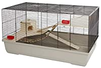 Cage with 2 levels made from wood with ladder and bridge Includes wooden house and 2 bowls Cage individually packaged Lattice spacing: 10 mm