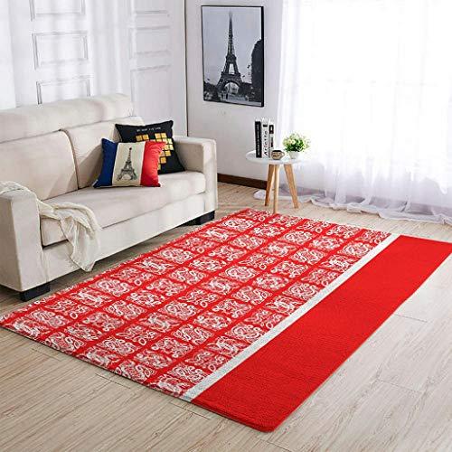AXGM Alfombra suave con tatuaje vikingo, color blanco y rojo, para salón, dormitorio, porche, decoración blanca, 122 x 183 cm