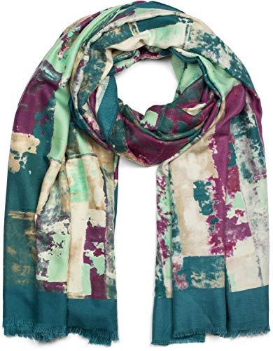 styleBREAKER Dames sjaal met abstracte penseelstreek en franjes, stola, sjaal 01017106