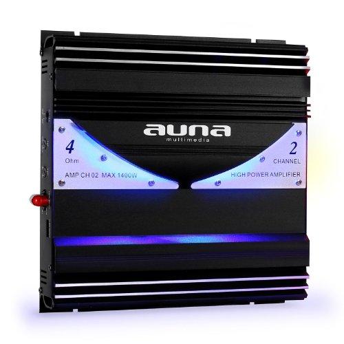 AUNA AMP-CH02 Ampli de Voiture 2 canaux Sono Auto Installation Tuning (1400 W, 190 W RMS, 20Hz-20kHz, Effets Lumineux, Filtre Passe-Bas réglable) Noir/Argent