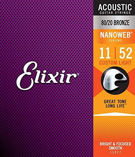 Elixis - Corde in bronzo 80/20 per chitarra acustica 11027 con rivestimento NANOWBE, Custom Light (.011-.052)