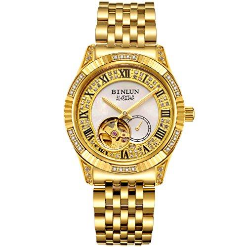 BINLUN Relojes de Pulsera Automáticos Chapados en Oro para Hombre, Diseño de Tourbillon Esqueleto