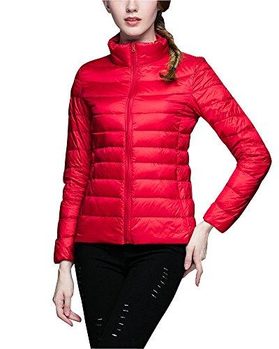 ZhuiKun Chaqueta Portátil de Plumón Ligero Cremallera Abrigo de Plumas Parka para Mujer Rojo XL