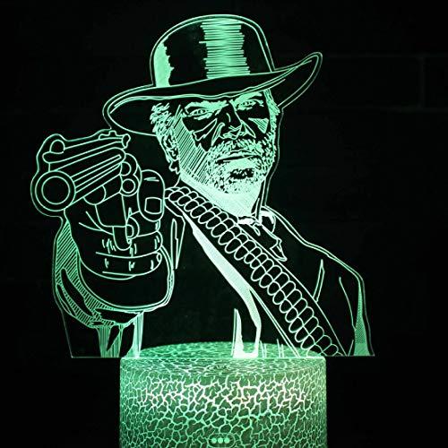 Niederländische Van Der Linde Neuheit Spiel Red Dead Redemption Zubehör 3D LED Nachtlicht USB Tischlampe Kinder Geburtstag Geschenk Nachtdekoration am Bett