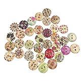 Benoon 100 Uds Patrón De Flores Coloridas 2 Agujeros Botones De Madera Costura álbum De Recortes Artesanía DIY Decoración Accesorio De Costura Patrón Aleatorio