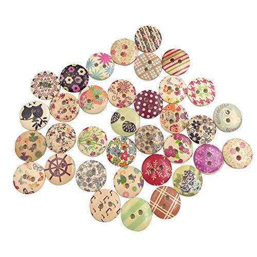 XYanXXX 100Pcs Wooden Buttons,2 Holes Colorful Flower Design Button for DIY Sewing Scrapbooking Cards Art Handicraft Clothes Ornament Decor Random Pattern