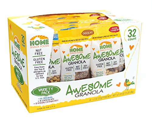 Awesome Granola - Gluten Free, Allergen Free, Nut Free, Soy Free Granola, 32 count 2 oz pouches - Variety Pack