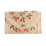 Ba30DEllylelly Unique Women Japan Fruit Straw Beach Bag Hecho a mano Cherry Bordado Mujeres Crossbody Crochet Rattan Shoulder Bag