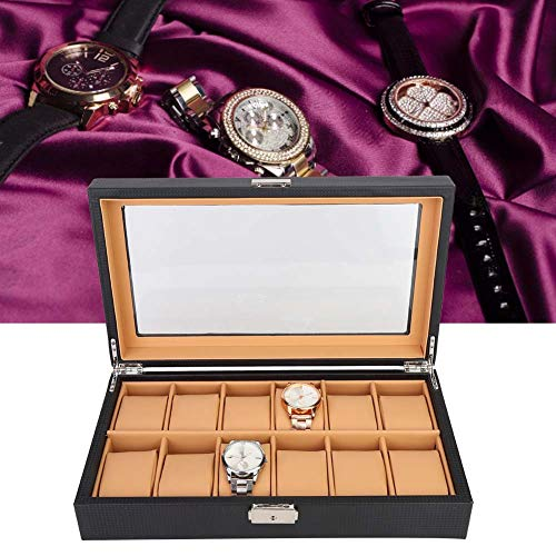 yuyte 12 Slots Portable Carbon Fiber Style Uhrenbox - Leere Vitrine Aufbewahrungsbox