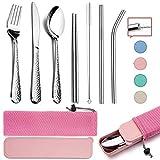 HaWare - Juego de cubiertos de acero inoxidable para camping (9 piezas, incluye cuchillo, tenedor, cuchara, palillos, cepillo de limpieza, pajitas, estuche portátil y bolsa (rosa)