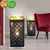 Set di 2 lampade da tavolo a LED viventi lampade da lavoro illuminate in tessuto nero oro