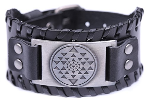 fishhook Viking Religious Mandala Buddhism Hindu Sri Yantra Bangle Leather Bracelet for Women Men (Antique Silver,Black)