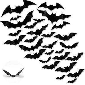LOVEXIU Halloween Decoracion,60 Pcs 3D Murciélagos Pegatinas, DIY Horror Pared Calcomanía,4 Tipos PVC Ventana Impermeables Adhesivos para Terror Fiestas Decoración y Sala Dormitorio(Negro)