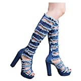 Over Knee Denim Jean Boots for Women Chunky Heel Peep Toe Thigh High Boot with Zipper (US:6.5, Light Blue)