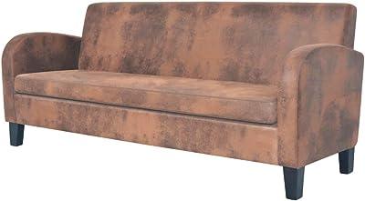ARREDinITALY - Sofá de 3 plazas, Color Gris, Patas de Acero ...