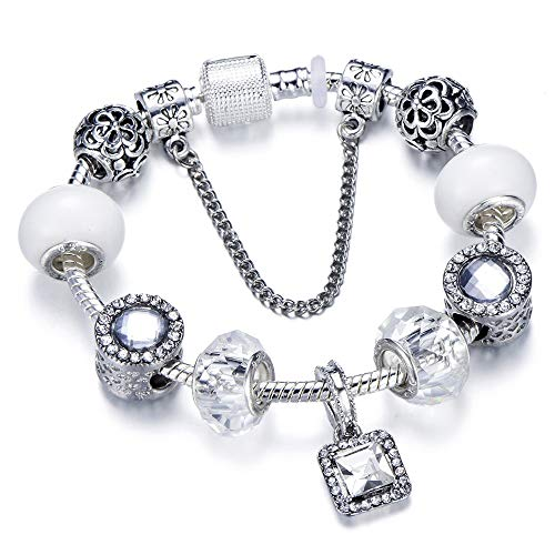 925 moda plata encanto pulsera pulsera de cristal femenino flor granos convenientes pulsera AD0723 20cm