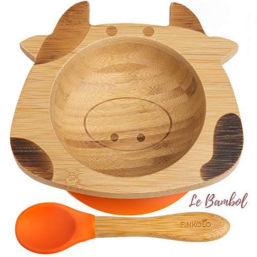 Bol Ventouse pour Bébé et Cuillère en Bambou Naturel | L'Original 'Bambol' par Finkolo | Forme Vache | Vaisselle Apprentissage | Coffret Repas Assiette