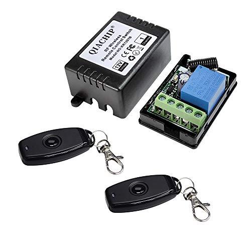 QIACHIP DC 12V Funkschalter mit Fernbedienung 433 MHz,Funk Relais 1 Kanal Schaltrelais Schalter, Sender Empfänger Universal Handsender für Garagentor