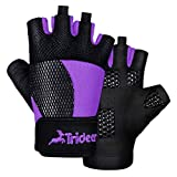 Trideer Breathable Workout Gloves Women, Weight Lifting Gloves, Gym Gloves, Exercise Gloves for Climbing, Boating, Dumbbells, Cross Training (Purple, L (Fits 7.5-7.9 Inches))