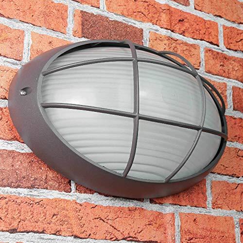 Maritieme wandlamp E27 AMSTERDAM weerbestendig B: 32cm ovale decoratieve grille buitenlamp antraciet huisdeur [energieklasse A ++]