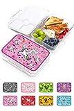 Jarlson® Lunch Box Bambini - Bento Box con 4 Scomparti - Porta Pranzo- Senza BPA - per la Scuola e l'asilo - 850ml (Unicorn)