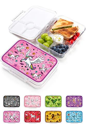 JARLSON® Brotdose für Kinder mit 4 Fächern - Lunchbox aus Tritan - Bento Box auslaufsicher – Jausenbox für Kindergarten und Schule - Mädchen und Jungen - 850ml (Einhorn)