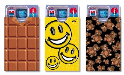 cardbox Gute Laune Set /// Motive: Schokolade/Smiley/Bärchen /// 3er Set /// Tolle Kartenhüllen für: Geschenkkarten, Bonuskarten, Bankkarten, Führerscheine UVM.
