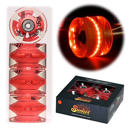 Sunset Skateboard Co. 65mm 78a LED Light-Up Longboard Wheels (4-Pack) with ABEC-7 Carbon Steel Bearings for Glow-in-The-Dark, All Ages & Skill Levels Skating Fun with No Batteries Required (Red)