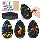 Wishstar Uova di Pasqua Scratch Art,Fogli di Disegni Scratch Art 36 PCS,Pasqua Decorazioni,Regali Creativi per Bambini