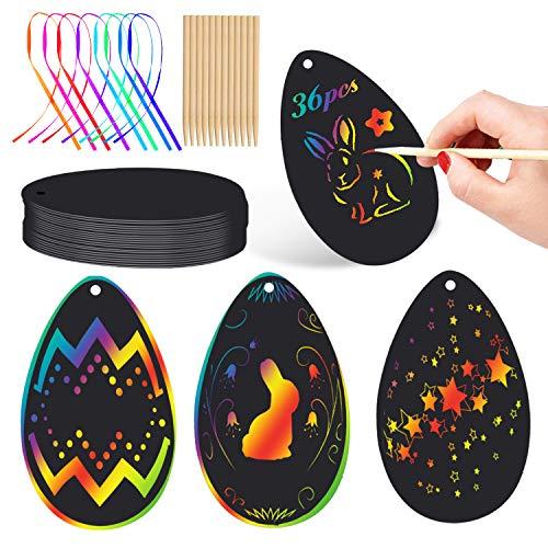 Wishstar Scratch Art Paper Pascua de Resurrección,36 Hojas Huevo Papel de Rascar,Manualidades Niños,Manualidades DIY para Decorar Pascua