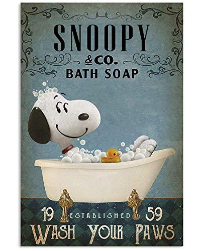 Inga Snoopy And Co - Poster da parete in metallo con scritta 'Wash Your Paws' [lingua inglese]