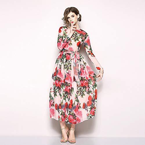 Basbsa Señoras vestido atractivo de la playa de liga del vestido casual de las señoras de la falda vestido de noche atractivo, nuevos europeos y americanos Impreso de Europa vestido de la gasa de mang
