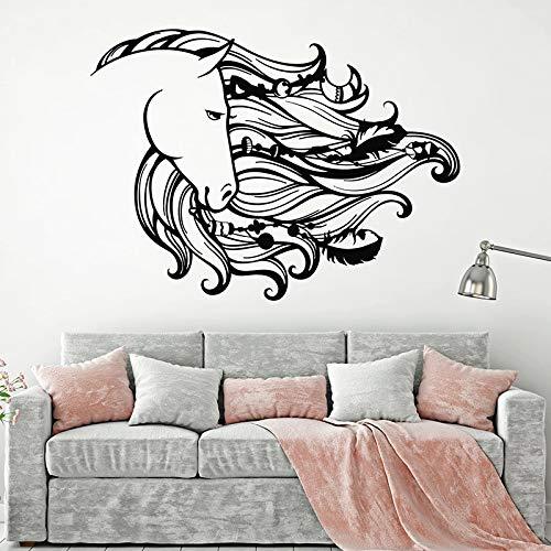 Dulce sueño pared calcomanía Catcher caballo crin Animal pluma dormitorio sala de estar decoración del hogar vinilo adhesivo papel tapiz artístico
