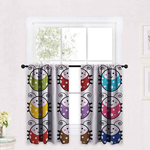 Ladybugs Decorations Tier Curtains Number of Cute Smiling Ladybugs Illustration in Colorful Dot Design Kids Nursery Print 2 Panels Rod Pocket Cafe Curtains Short Curtain 30 x 24 inch