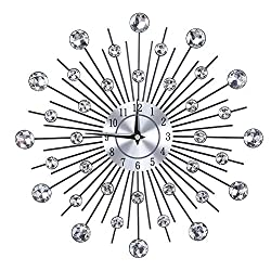 Owlike Sparkling Bling Metallic Wall Clock Silver Flower-Shaped Wall Clock for Living Room Office(Round Flower)