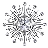 SunshineFace Reloj de Pared con Forma de Flor Redonda Reloj de Pared con Forma de Flor de Plata Metalizada Brillante para La Oficina de La Sala de Estar
