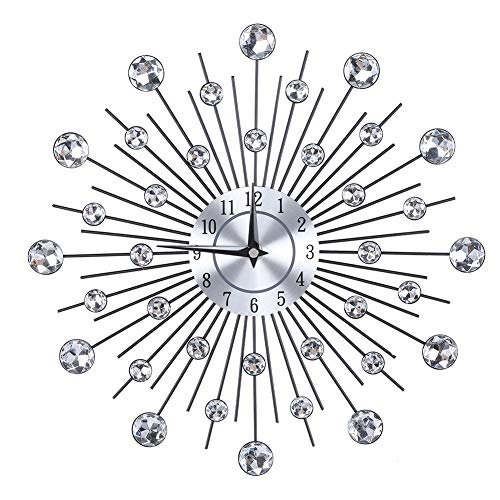 AUNMAS Creative Wall Clock Sparkling Bling Metallic Silver Flower-Shaped Wall Clock for Living Room Office(2)