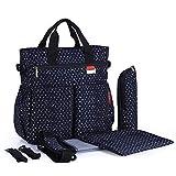 Modische Wickeltasche für Babys, multifunktional, wasserdicht, Marineblau