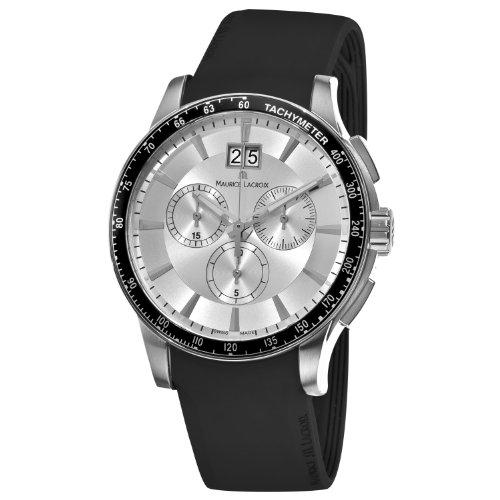 Maurice Lacroix MI1098-SS041130 Miros Miros Reloj cronógrafo con Correa de Silicona Negra para Hombre