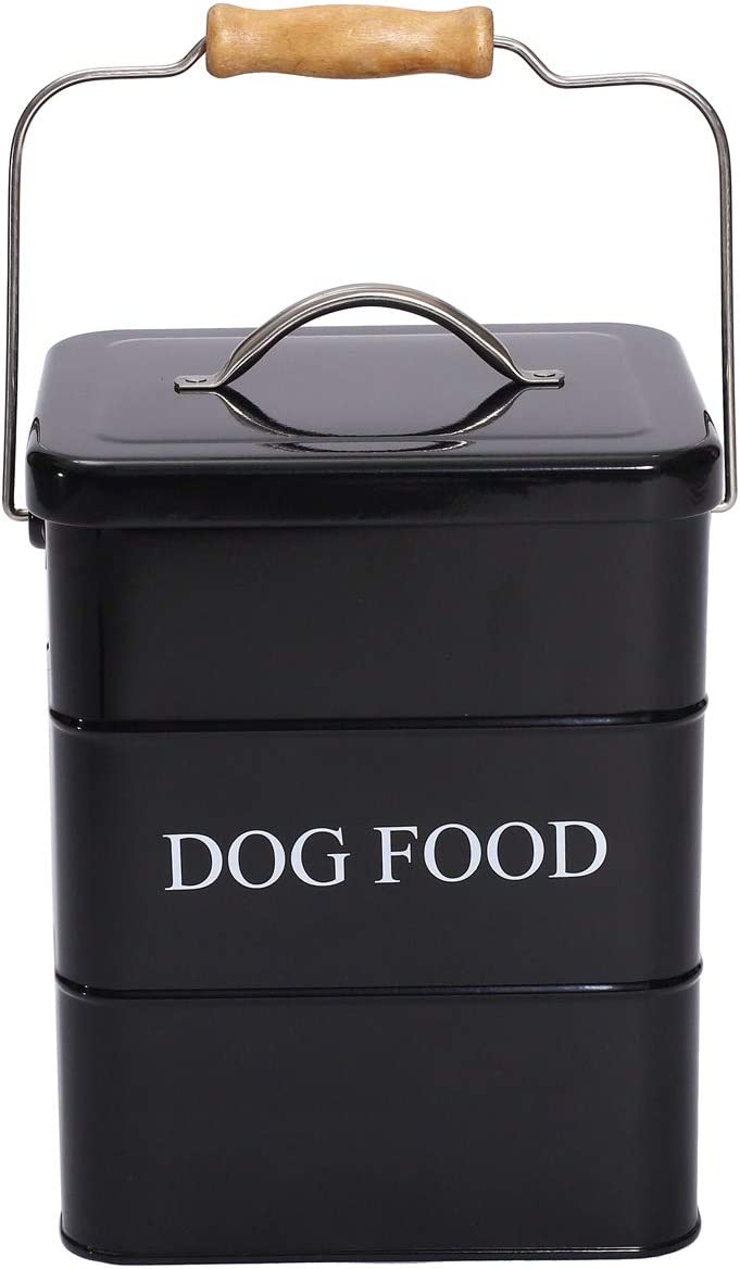 Pet Supplies : Geyecete Dog Treats tin and Dog Food Storage Tin with Lid & with Spoon for Dog Food Storage, Medium Pet Food Storage Can-Dog Food-Black :