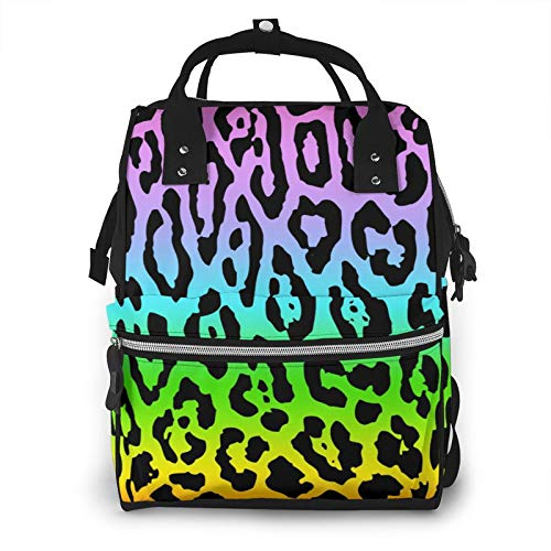 Diaper Bag Colorful Leopard Diaper Backpack Multi-Function Organizer Nursing Bag Waterproof Non-Fading Nappy Bags Lightweight Canvas Mummy Backpack for Travel Outdoor