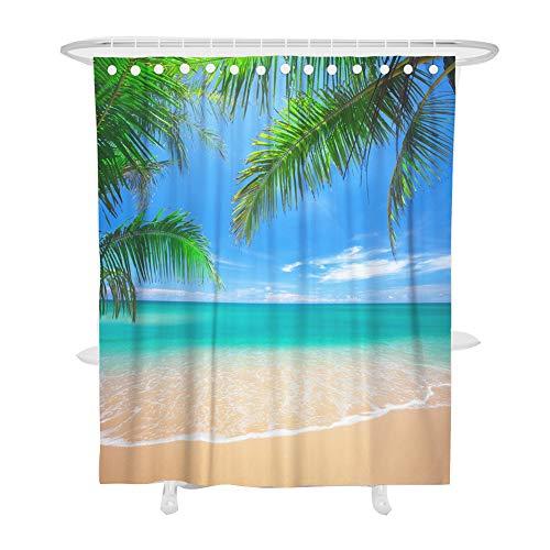 Fansu Duschvorhang Anti-Schimmel, 3D Drucken 100% Polyester Bad Vorhang Wasserdicht Anti-Bakteriell mit C-Form Kunststoff Haken mit 12 Ringe für Badzimmer (180x200cm,Strand)