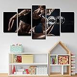 Hd Gedruckt 3 Stück Leinwand Kunst Offenes Mädchen Foto Hanteln Fitness Malerei Bodybuilding...