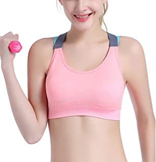 ZYDP Women's Seamless Sports Bra High Impact Full Support Crossback Workout Gym Activewear Crop Top (Color : Pink, Size : M)