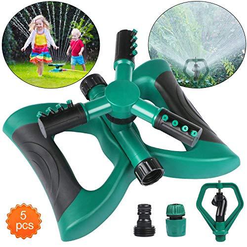 Aiglam Garten Sprinkler, Automatische 360 Grad Rotierende Rasen Wasser Sprinkler 3-Arm Sprenger Gardena für Bewässerungsanlagen, Rasensprinkler Bewässerungssystem, Sprinklersystem Komplett-Set
