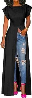 Women's Long Summer Dress - High Slit Short Sleeve Solid Blouses Club Casual Maxi Shirt Dress